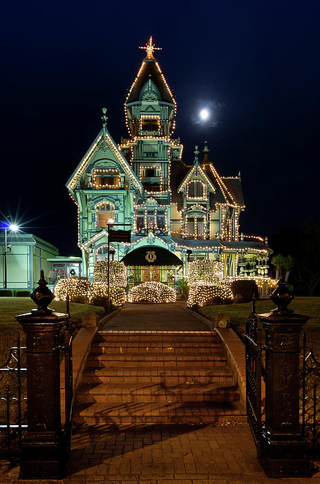 Carson Mansion At Christmas With Moon Photograph  - Carson Mansion At Christmas With Moon Fine Art Print