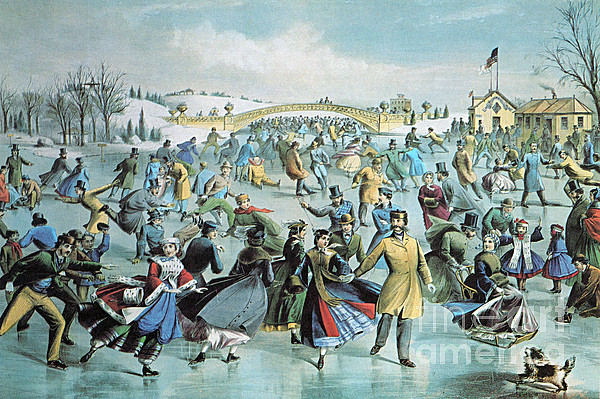 Currier & Ives Photograph - Central Park Skating Pond New York by Photo Researchers