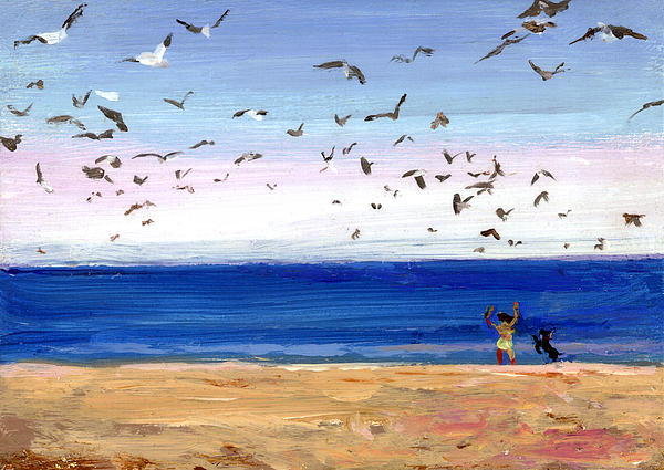 Chasing Birds Painting  - Chasing Birds Fine Art Print