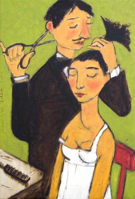 hairdressing paintings, haircut paintings, hairstyle paintings,