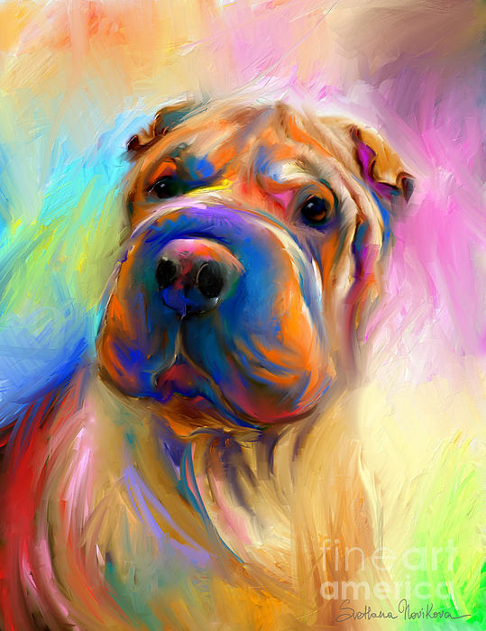 Svetlana Novikova - Colorful Shar Pei Dog portrait painting