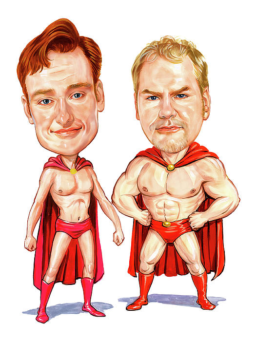 Conan  Obrien And Jim Gaffigan As Pale Force Painting  - Conan  Obrien And Jim Gaffigan As Pale Force Fine Art Print
