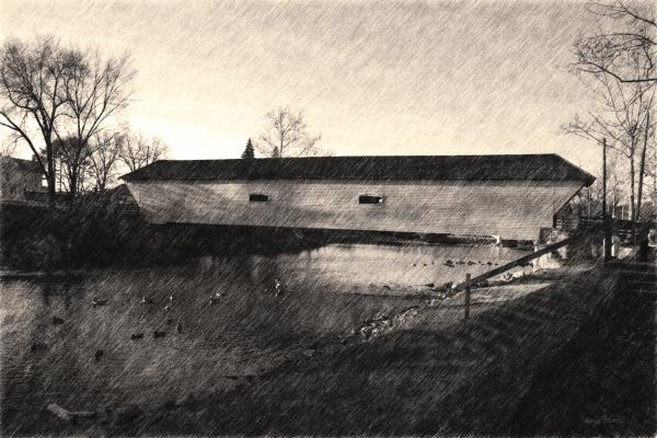 Covered Bridge Elizabethton Tennessee c. 1882 sepia Photograph - Covered