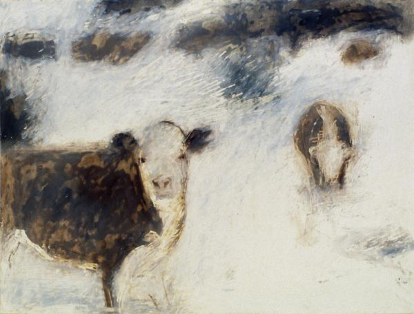 Cows in Snow Painting - Cows in Snow Fine Art Print