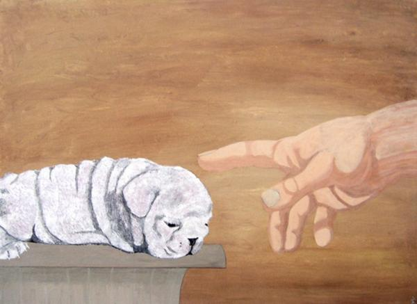 Creation of Dog Painting - Creation of Dog Fine Art Print