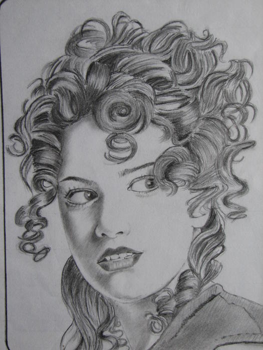 Girl With Curly Hair Drawing. Curly Hair Girl Drawing