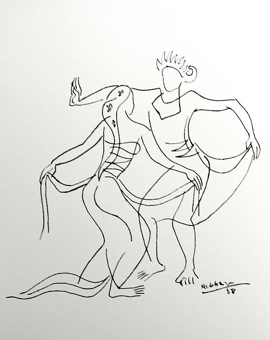 Dancing Couple Drawing  - Dancing Couple Fine Art Print