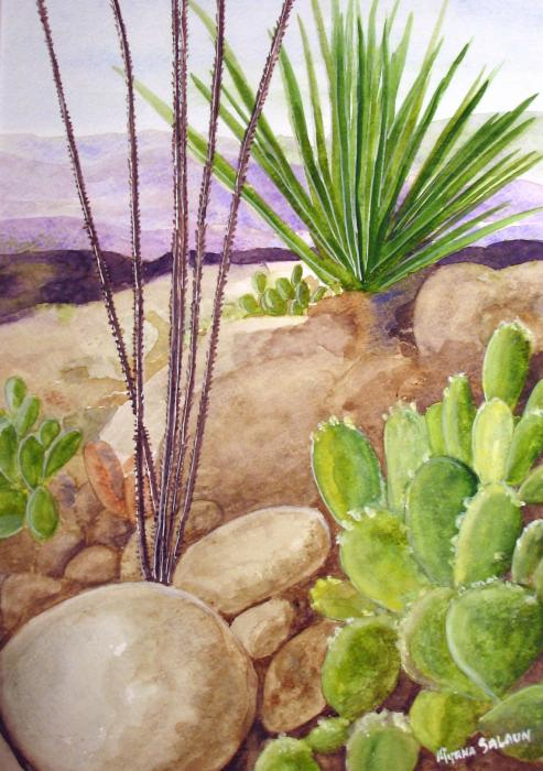 Desert Plants Painting - Desert Plants Fine Art Print