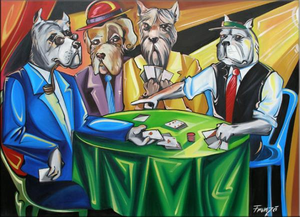 Dogs Playing Poker Painting by Ciprian Frunza