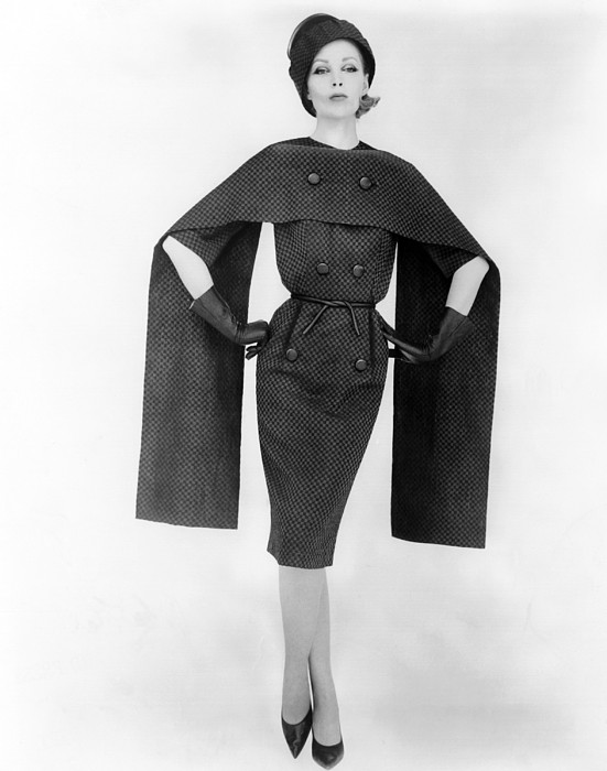 History Photograph - Dramatic Checked Dress And Cape. Dress by Everett
