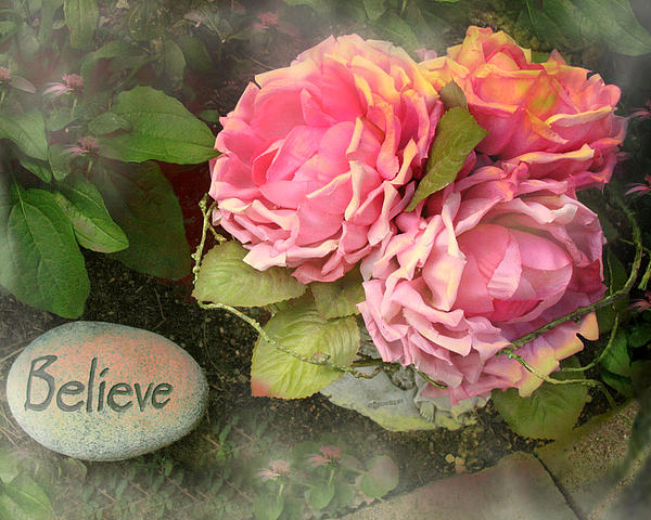 Kathy Fornal - Dreamy Cabbage Pink Roses Inspirational Art