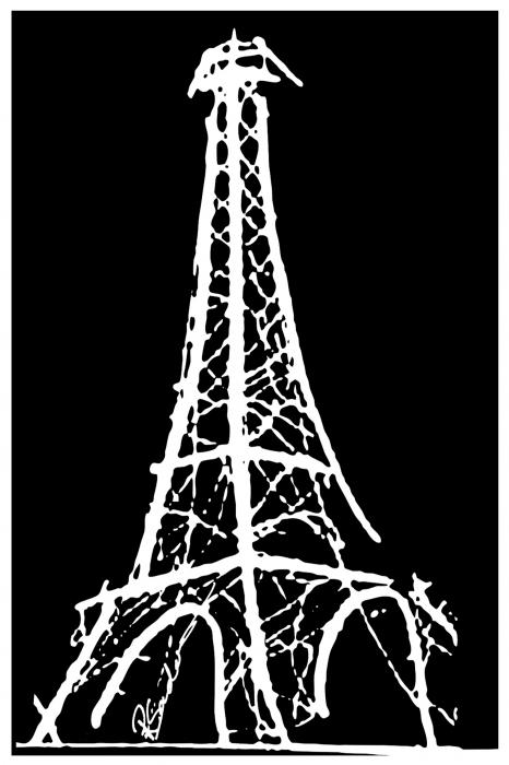Eiffel Tower Paris France White on Black Painting - Eiffel Tower Paris