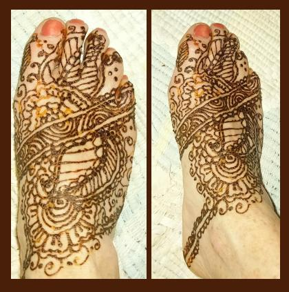 Elaborate Henna Design On Foot Painting by Henna Tattoos Ogden Utah