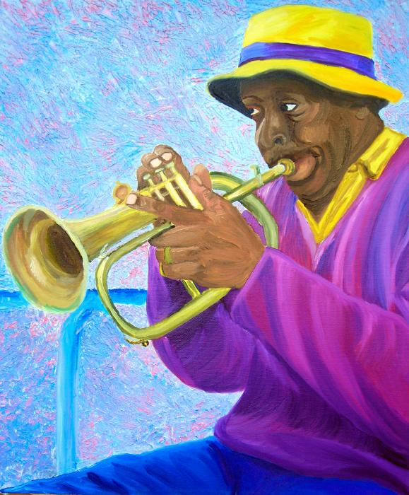 street musician paintings, trumpet player paintings, street musician