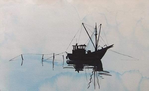 Annemeet Van der Leij - Fishingboat in foggy weather