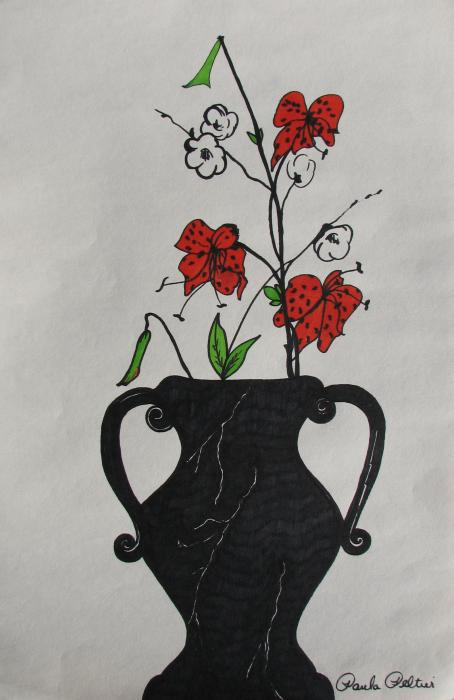 Flowers in a Vase Drawing by Paula Peltier