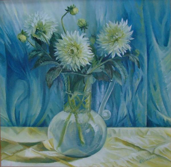 Flowers in glass vase Painting - Flowers in glass vase Fine Art Print