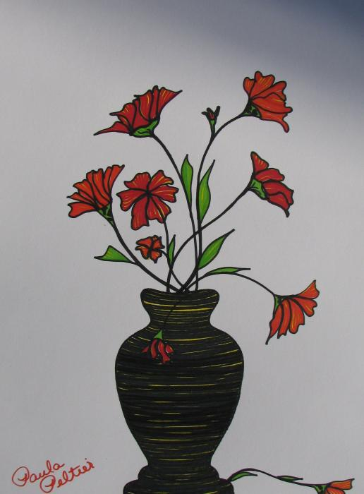 Flowers in Vase II Drawing by Paula Peltier