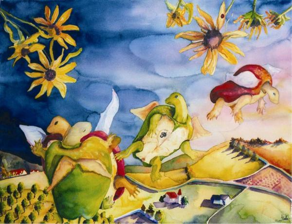 art apples sunflower landscape imagination color playful paintings,