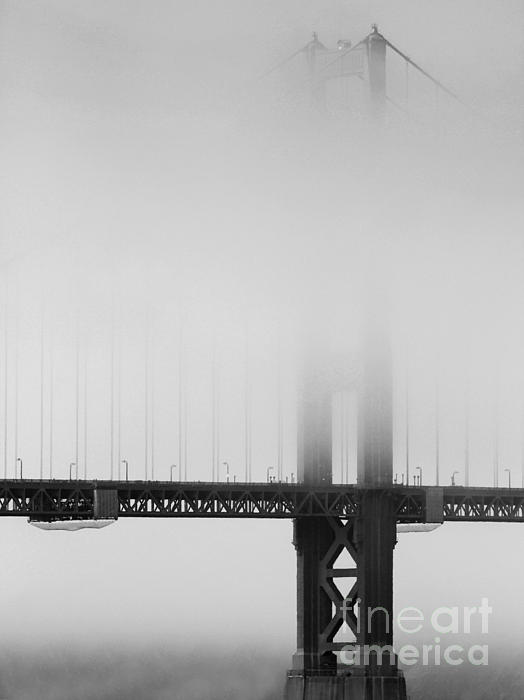golden gate bridge black and white pictures. Fog at the Golden Gate Bridge