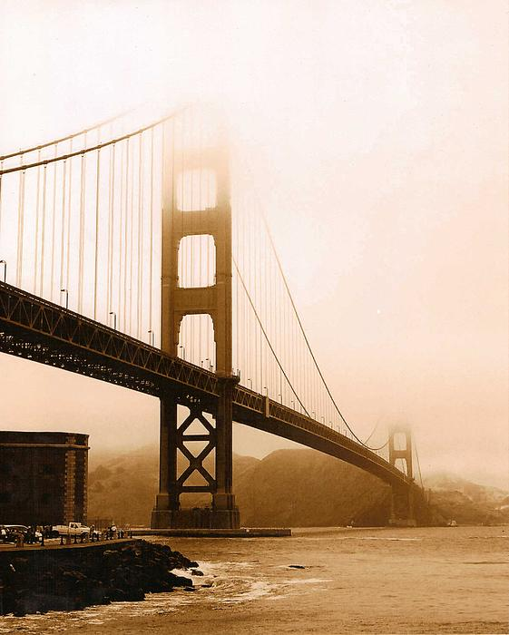 Rhonda Jackson - Foggy Golden Gate in Sepia