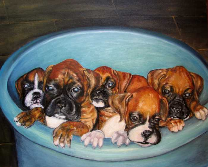 Funny Puppies orginal oil painting Painting - Funny Puppies orginal oil
