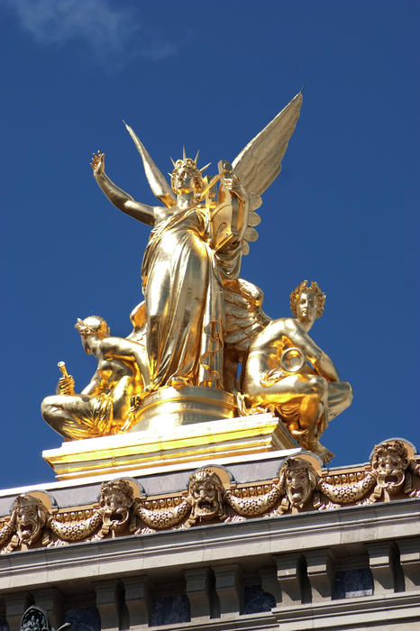 Opera House Paris. Gilded Angel Atop Opera House