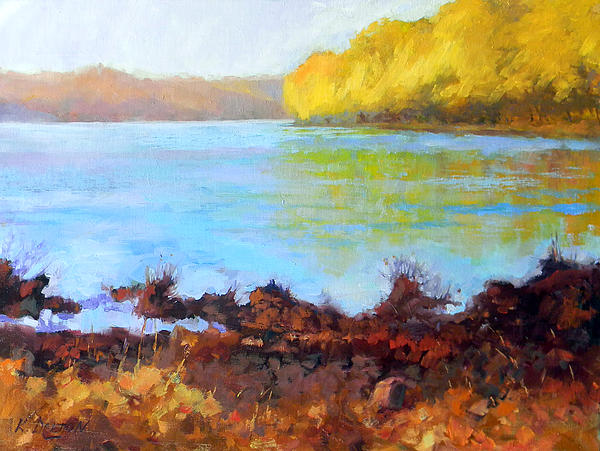 Golden Trees By Bowmans Tower Bucks County Painting