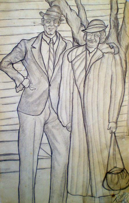 Grandma And Grandpa Albee Drawing - Grandma And Grandpa Albee Fine Art Print