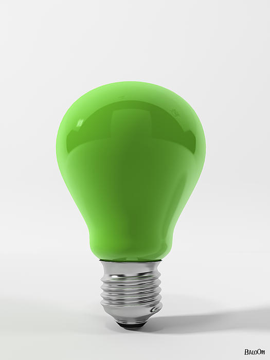 Green Ligth Bulb Digital Art  - Green Ligth Bulb Fine Art Print