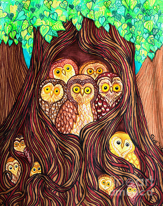 Guardians of the Forest Drawing  - Guardians of the Forest Fine Art Print