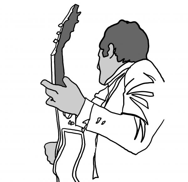 black and white guitar player. Guitar Player Drawing by M Blaze Wolenski. Tags: black drawings, white