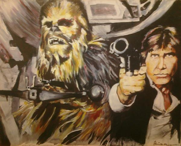 star wars paintings, han solo paintings, chewbacca paintings,