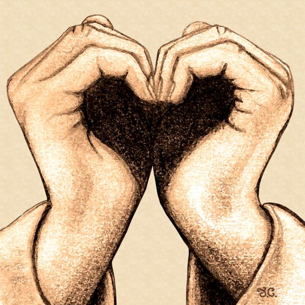 love heart with hands. Hand Heart Drawing - Hand Heart Fine Art Print