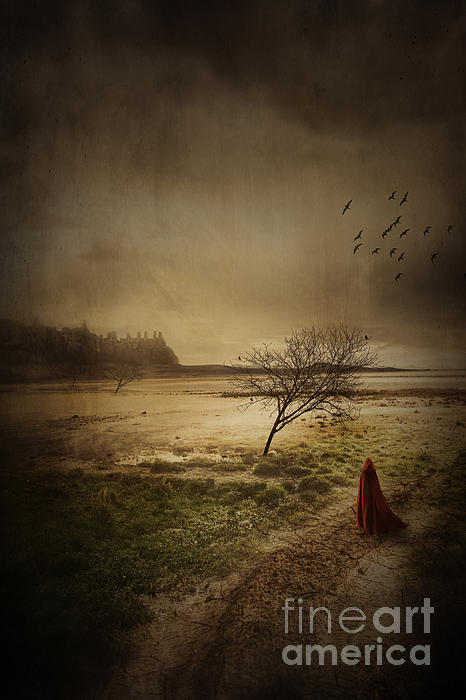 Sandra Cunningham - Hooded figure walking in bleak landscape