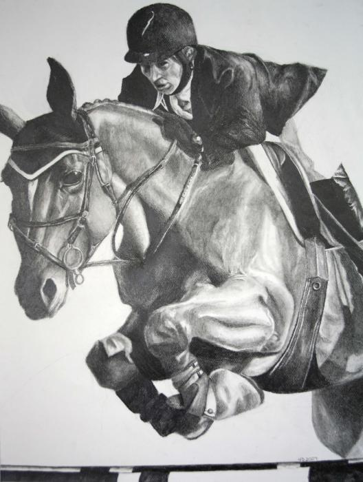 Horse and Jockey Drawing - Horse and Jockey Fine Art Print