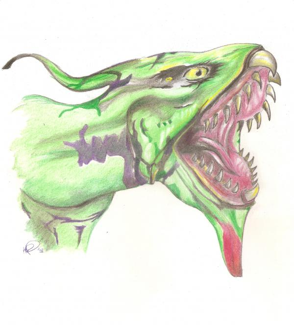 Ikran Banshee - tattoo color workup Drawing by Holly Paino