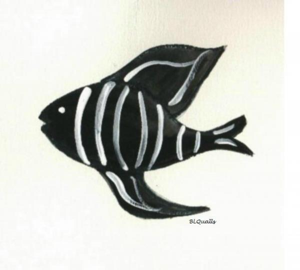Imaginary Black and White Fish Painting - Imaginary Black and White Fish