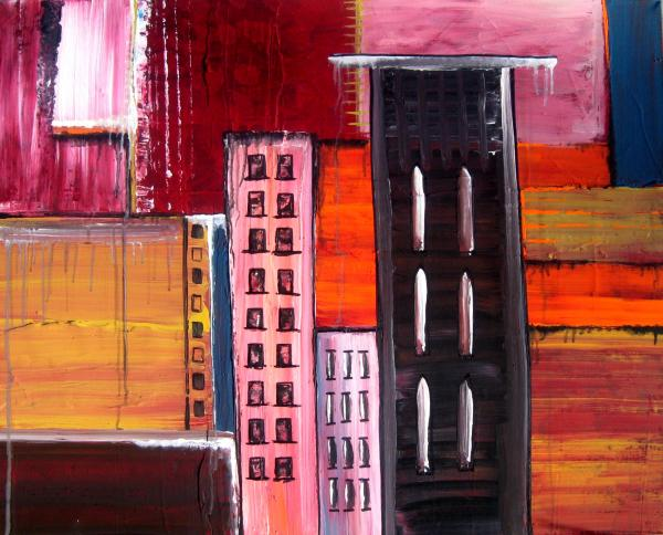 Inch Inner City Abstract Cityscape Texture Modern Art On Gallery Wrapped Canvas Painting