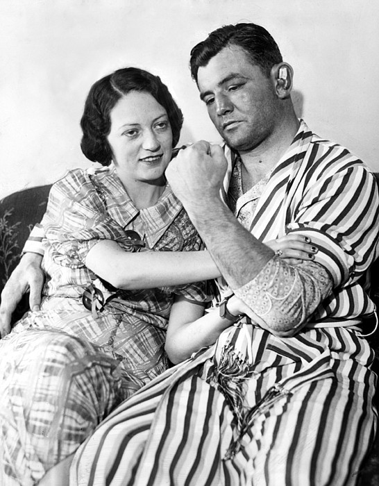 1930s Candids Photograph - James Braddock Shows Off To Wife May by Everett