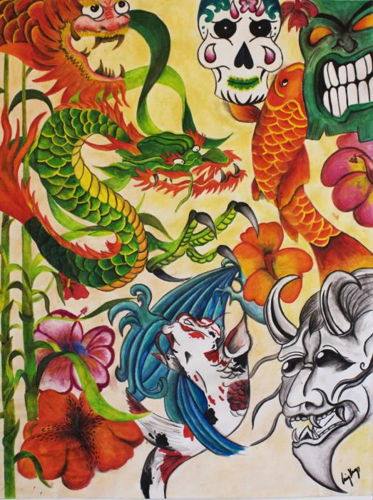 Japanese Tattoo Painting - Japanese Tattoo Fine Art Print