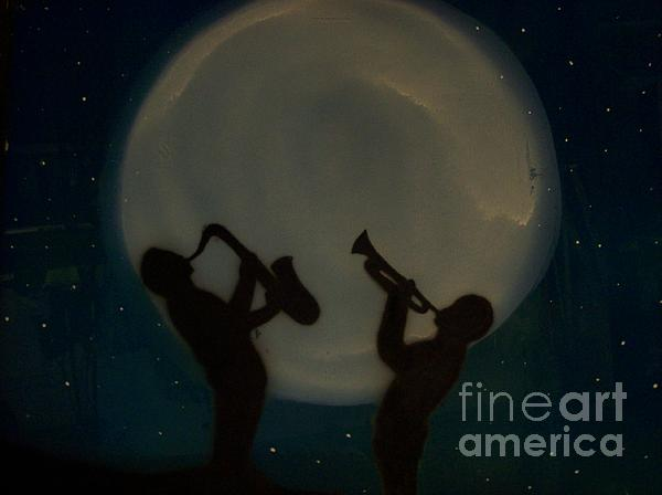 Jazzing At The Moon Glass Art  - Jazzing At The Moon Fine Art Print