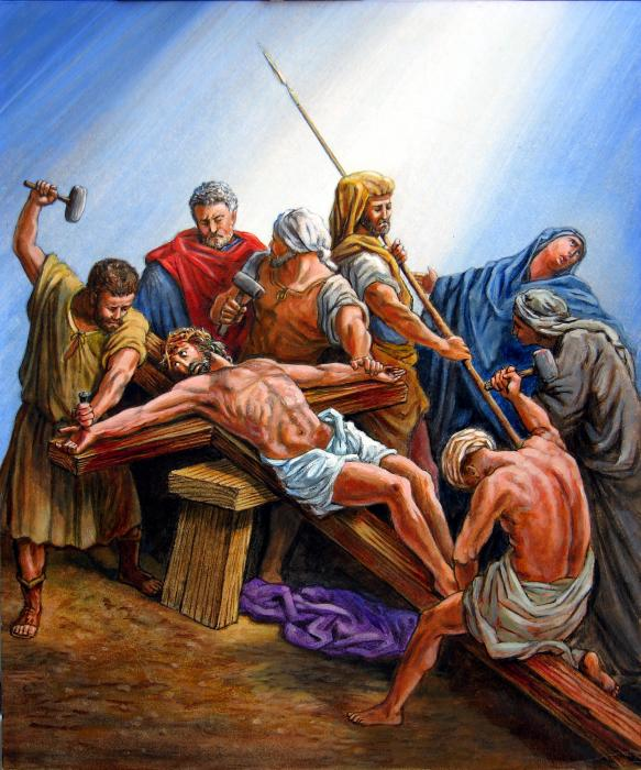 Jesus Nailed to the Cross Painting - Jesus Nailed to the Cross Fine Art