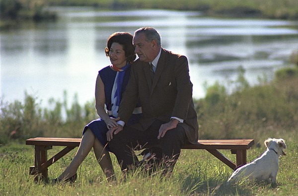 History Photograph - Lady Bird And President Johnson Sit by Everett