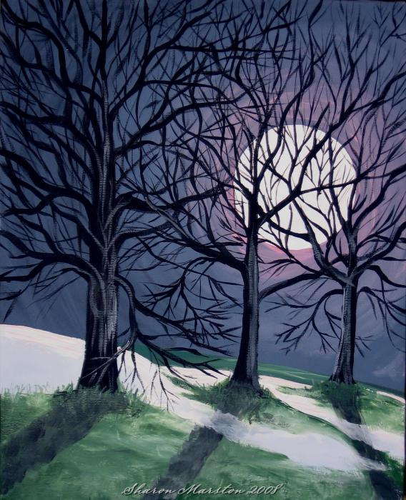 Last Night of the Winter Moon Painting - Last Night of the Winter Moon Fine