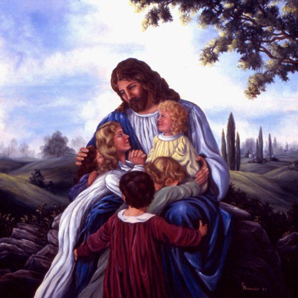 paintings of jesus with children. Painting - Let the children