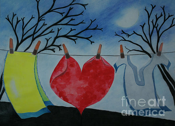 Lets Wash Heart Painting  - Lets Wash Heart Fine Art Print