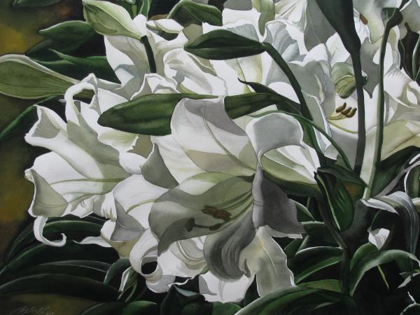 lilies for Easter Painting  - lilies for Easter Fine Art Print