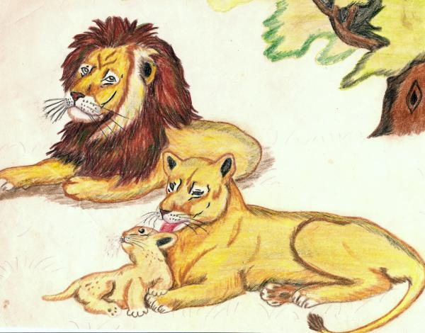 Lions of the tree Drawing - Lions of the tree Fine Art Print