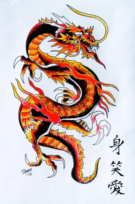 chinese dragon live laugh love symbols lettering tattoo mixed media,